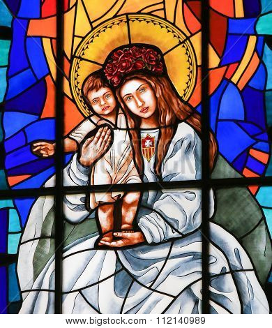 Stained Glass Of Madonna With Child In Madrid Cathedral