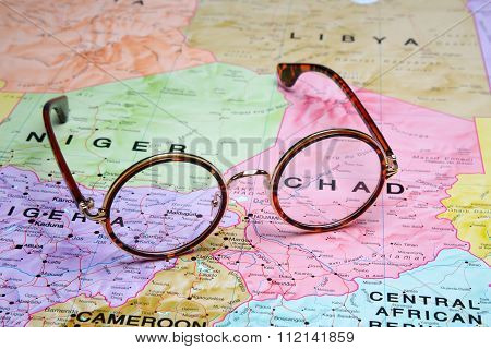 Glasses on a map - Chad