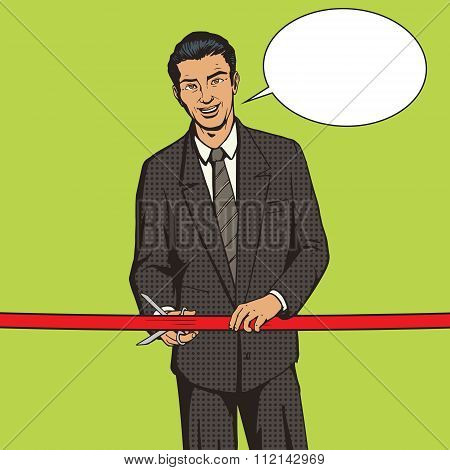 Man cuts red ribbon pop art style vector