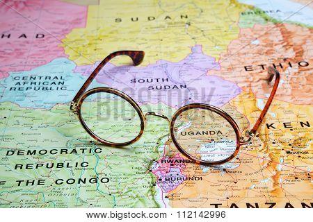 Glasses on a map - Kampala