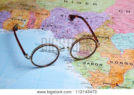 Glasses on a map - Equatorial Guinea