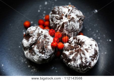 Chocolate balls with ash berry on plate closeup