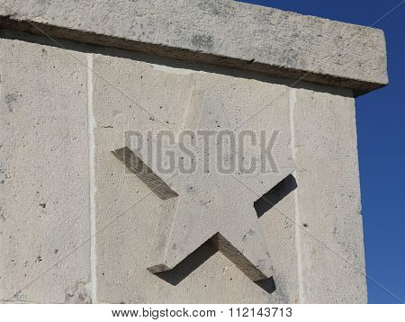 Five Pointed Star Carved In Stone