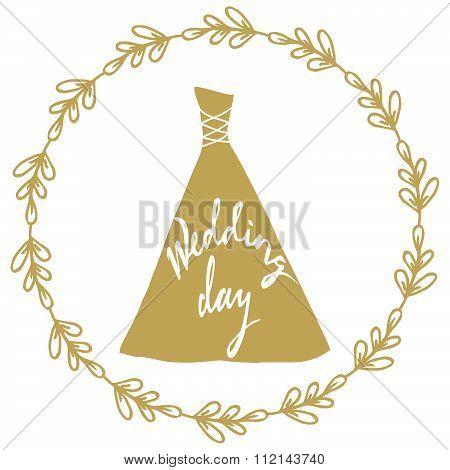 Golden wedding dress