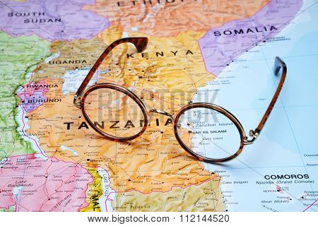 Glasses on a map - Dar es Salaam