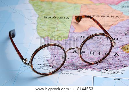 Glasses on a map - Cape Town