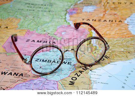 Glasses on a map - Zimbabwe