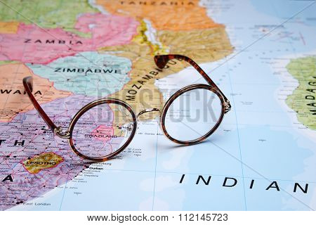Glasses on a map - Swaziland