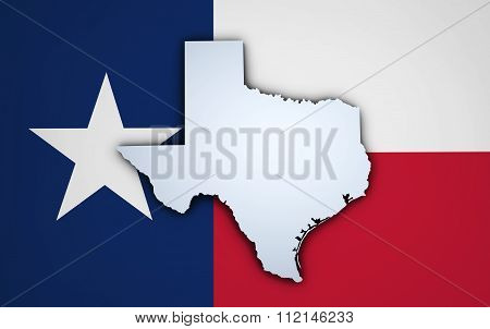 Texas State Map On Texan Flag