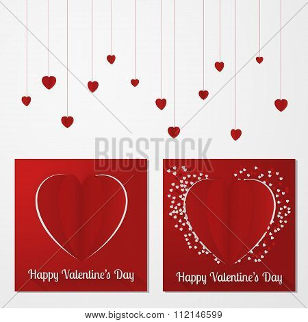 Valentine's day abstract multiple card or background with cut and folded paper hearts and text.