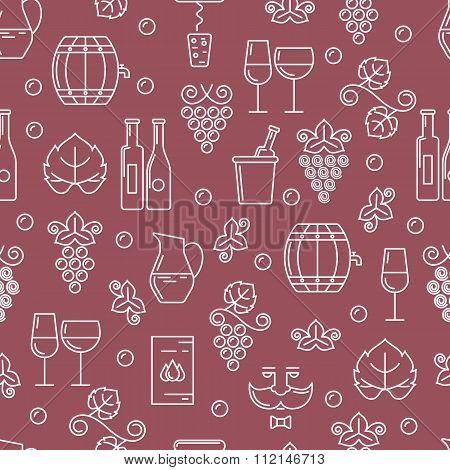 Vector Seamless Pattern With Outline Wine Bottle, Glass, Grape Vine.