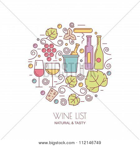 Linear Wine Bottle, Glass, Grape Vine, Leaf Icons. Food And Drink Flat Background.