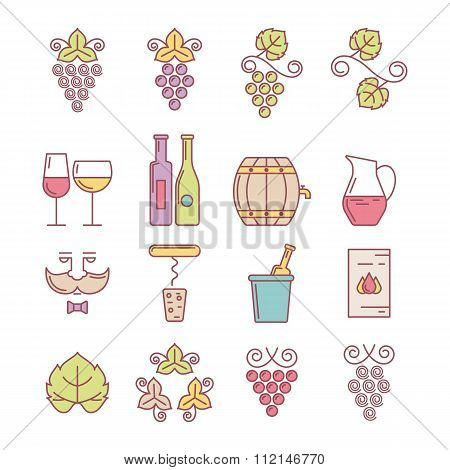 Wine Bottle, Glass, Grape Vine And Leaf, Food And Drink Illustration.