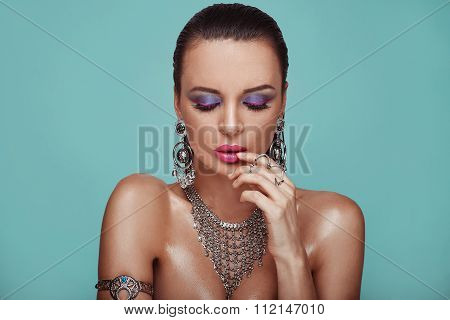 Beauty Portrait Of Young Swag Sexy Woman In Studio