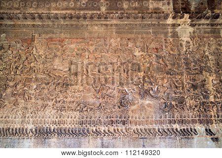 Ancient Khmer Bas-relief At Angkor Wat Temple, Cambodia