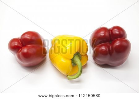 Fresh juicy red  and yellow  sweet pepper close up on a white background