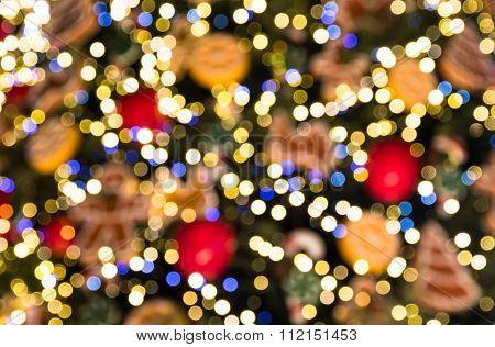 Festive Bokeh Made Of Christmass Tree Decorations