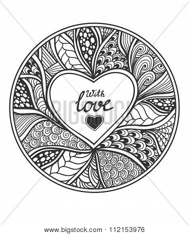 Handmade Abstract Heart frame in Zen-doodle style black on white