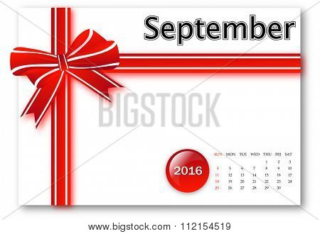 September 2016 - Calendar series with gift ribbon design