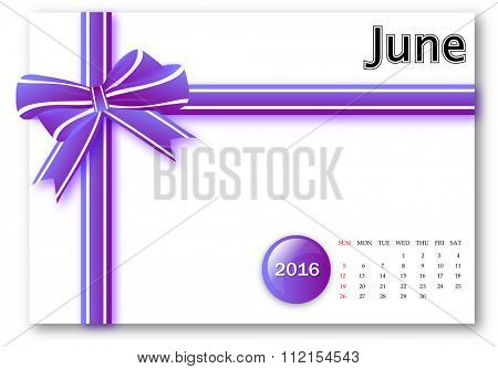 June 2016 - Calendar series with gift ribbon design