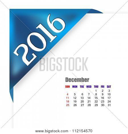 2016 December calendar