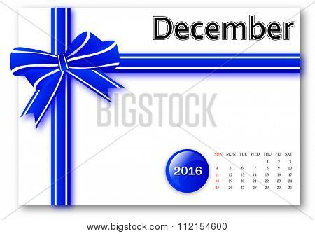 December 2016 - Calendar series with gift ribbon design