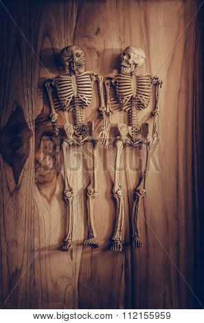 Skeleton Holding Hand For Eternal Love. Selective Focus On Hand And Finger.