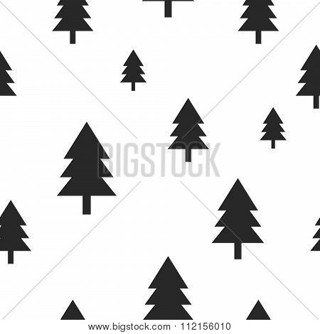 Scandinavian black forest tree on white vector seamless pattern.