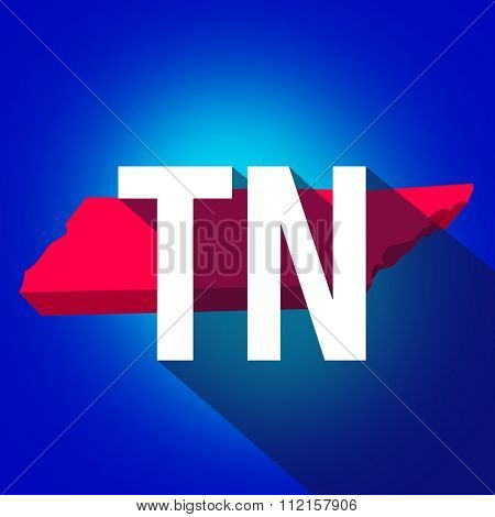 Tennessee TN letters on a 3d map of the state as part of the USA United States of America, with long shadow