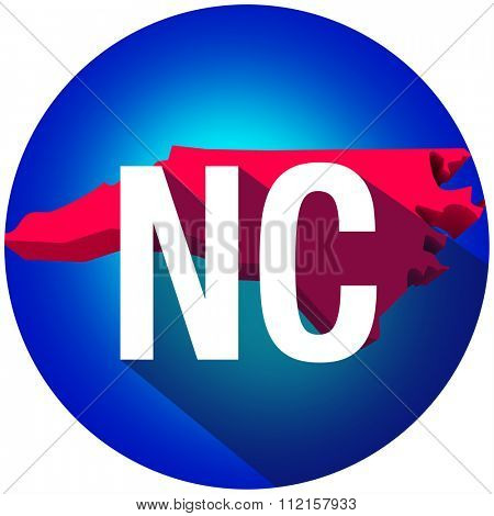 North Carolina NC letters on a 3d map of the state as part of the USA United States of America, with long shadow