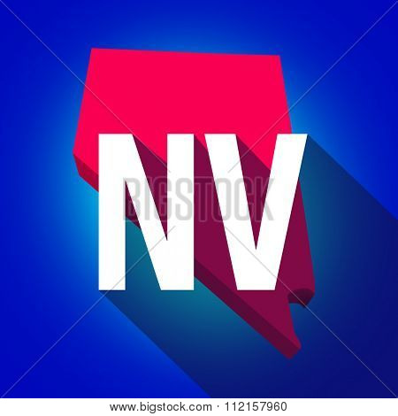Nevada NV letters on a 3d map of the state as part of the USA United States of America, with long shadow