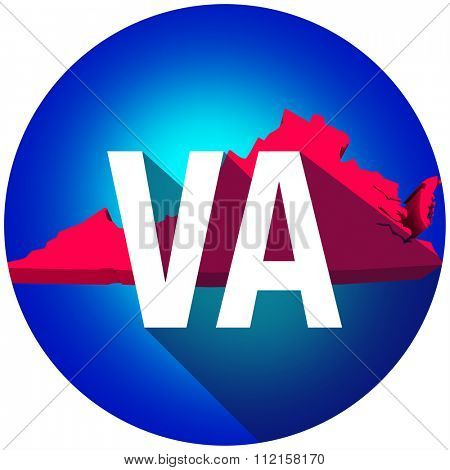 Virginia VA letters on a 3d map of the state as part of the USA United States of America, with long shadow