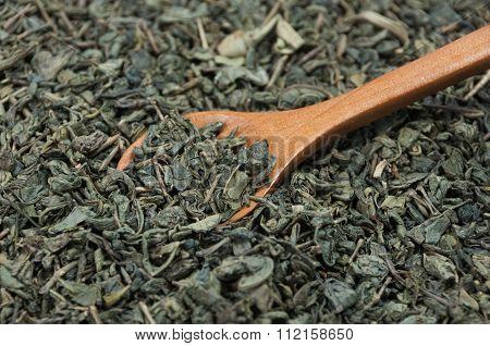 Wooden Spoon Gaining Green Tea