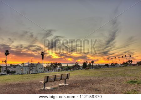 Vacant seating on grassy hill