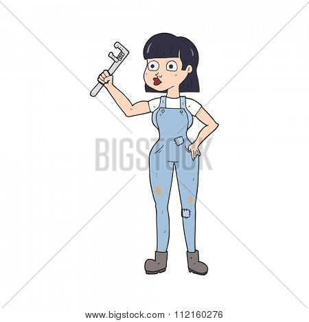 freehand drawn cartoon female plumber