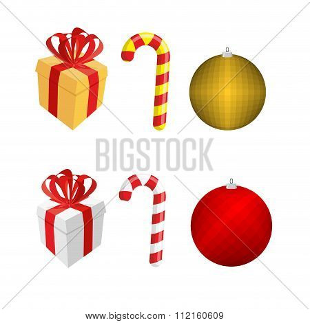 Set  Icons For Christmas And New Year. Gift Box And Peppermint Lollipop Stick. Ball-christmas Tree T