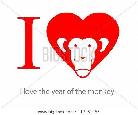 I Love The Year Of The Monkey 2016. Symbo Heart As Red Monkey. Monkey Symbol Of New Year By Oriental