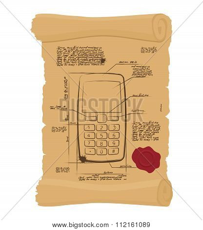 Cell Phone With Buttons On Old Scroll. Paper Project Of Ancient Phone. Prehistoric Mobile Phone Old