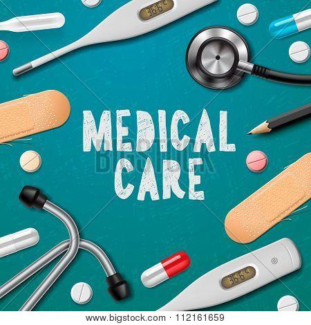 Medical care, medicine template