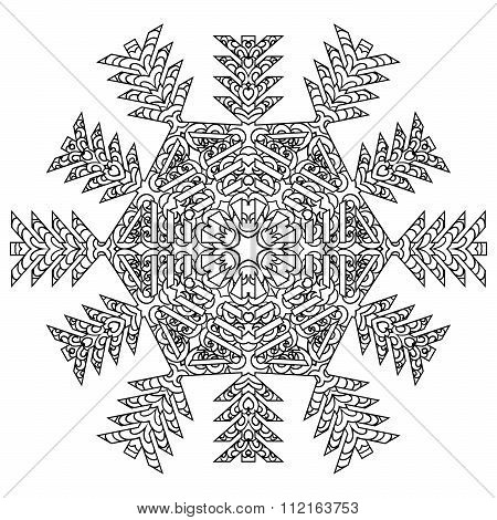 Hand drawn antistress snowflake.