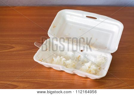Foam Boxes With Scraps Left Over From Eating
