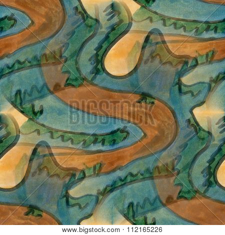Art brown green cubism abstract style of picasso seamless wallpaper watercolor