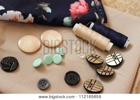 Buttons On Fabric.