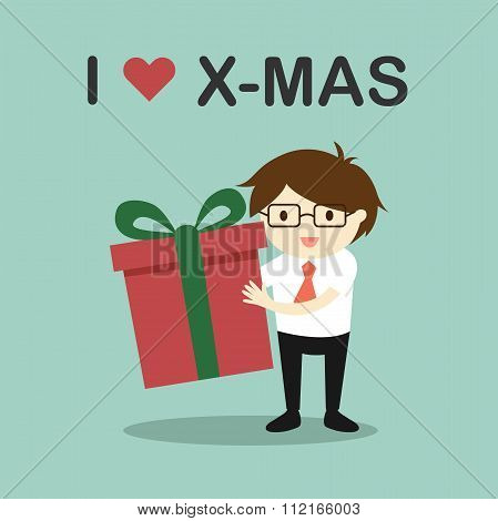 Business concept, Businessman holding a gift box with the words