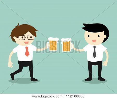 Business concept, Businessmen drinking beer together.