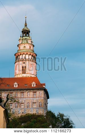Castle tower in Cesky Krumlov, Czech republic.