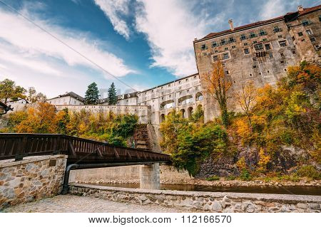 Castle in Cesky Krumlov, Czech republic. Sunny autumn day.