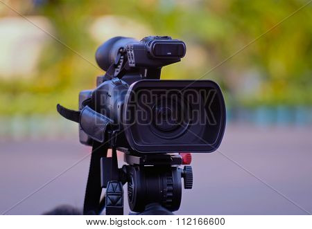 Close - Up Video Camera  With Color Bokeh