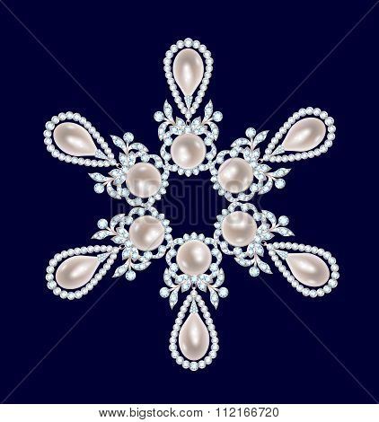 Brooch with pearls and diamonds