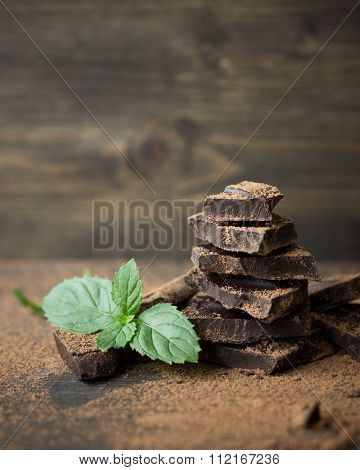 Dark Chocolate With Mint Sprinkled With Cocoa Powder